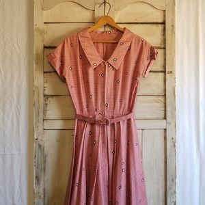 Vintage 50's Pink Plaid Day Dress w/ Original Belt